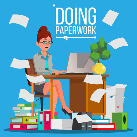 Business Woman Doing Paperwork Vector. Office Worker. Very Busy Day. To Excessive Work. Accounting Bureaucracy. Disorganized Manager. Flat Cartoon Illustration Vektorové ilustrace