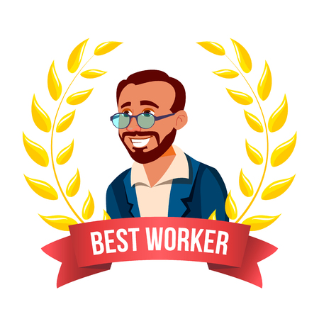 Best Worker Employee Vector. Turkish Man. Award Of The Month. Gold Wreath. Professional Goals. Victory Business Cartoon Illustration