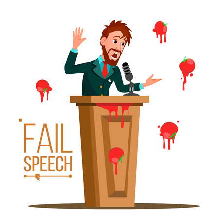 Businessman Fail Speech Vector. Unsuccessful Presentation. Bad Public Speech. Speaker Standing Behind A Rostrum. Having Tomatoes From Crowd. Illustration