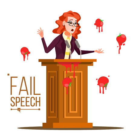 Business Woman Fail Speech Vector. Unsuccessful Messaging. Bad Feedback. Having Tomatoes From Crowd. Tribune, Rostrum With Microphone. Failed Communication. Illustration Illustration