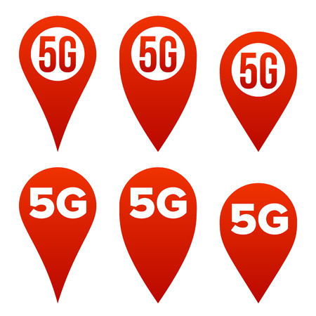 5G Pointer Sign Set Vector. Red Icon. Internet WiFi Connection Standard. Speed Sign. Wireless Internet Network Future Technology. Isolated Illustration
