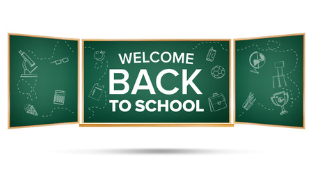 Back To School Banner Vector. Classroom Blackboard. Sale Background. Welcome. Education Related. Realistic Illustration