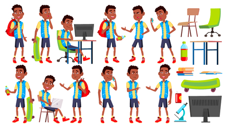 Boy Schoolboy Kid Poses Set Vector. High School Child. Black. Afro American. Children Study. Knowledge, Learn, Lesson. For Advertising, Placard, Print Design Isolated Cartoon Illustration