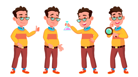 Boy Schoolboy Kid Poses Set Vector. High School Child. Caucasian, Kids, Positive. For Postcard, Cover, Placard Design. Isolated Cartoon Illustration  イラスト・ベクター素材