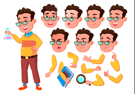 Boy, Child, Kid, Teen Vector. Happy Childhood. Abc. Face Emotions, Various Gestures. Animation Creation Set Isolated Flat Cartoon Character Illustration Illustration