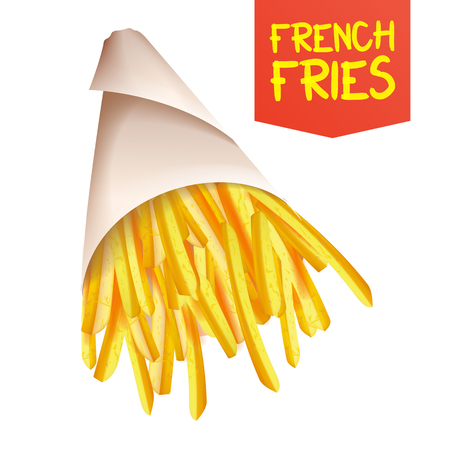 French Fries Potatoes Vector. Paper Bag Container. Tasty Fast Food Potato. Isolated Realistic Illustration 矢量图像