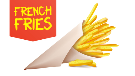 French Fries Potatoes Vector. ast Food Icons Potato. Full Paper Bag, Cone. Isolated Realistic Illustration