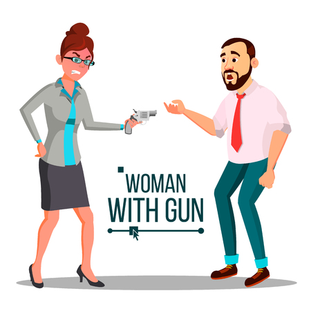 Business Woman With Gun Vector. Spy, Criminal. Unsuccessful. Isolated Flat Illustration Vectores