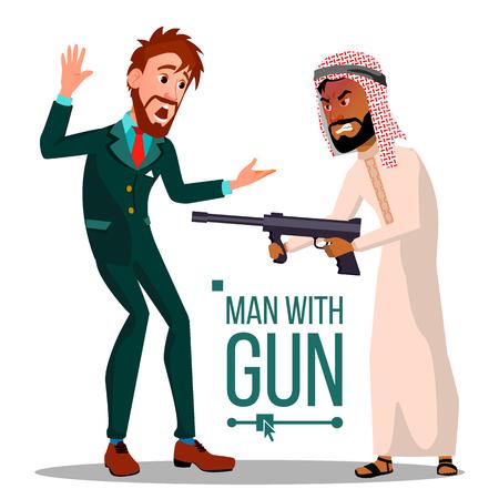 Homme d'affaires avec vecteur de pistolet. Infructueux. Concept de faillite. Illustration plate isolée Vecteurs