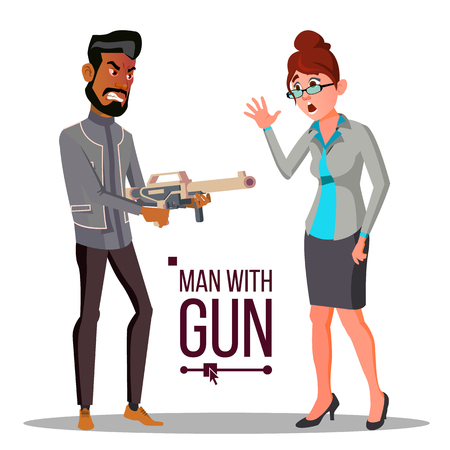 Businessman With Gun Vector. Unsuccessful. Bankruptcy Concept. Isolated Flat Illustration