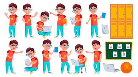 Boy Schoolboy Kid Poses Set Vector. Primary School Child. Schooler. Young People. University, Graduate. For Advertising, Placard, Print Design. Isolated Cartoon Illustration Illustration