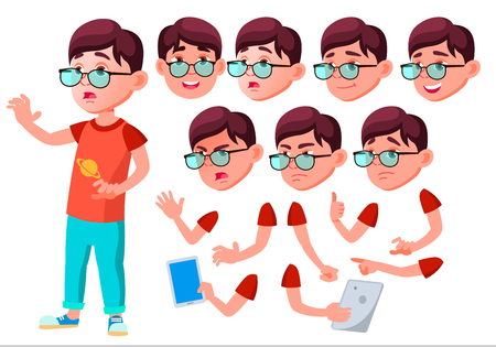 Boy, Child, Kid, Teen Vector. Leisure. Educational, Study. Face Emotions, Various Gestures Animation Creation Set Isolated Flat Cartoon Character Illustration Çizim