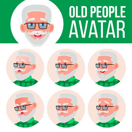 Old Man Avatar Set Vector. Face Emotions. Senior Person Portrait. Elderly People. Aged. Facial, People. Positive. Cartoon Head Illustration
