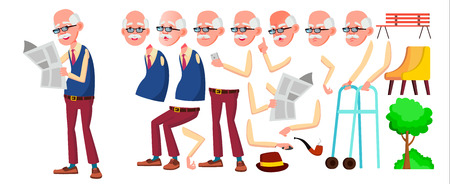 Old Man Vector. Senior Person Portrait. Elderly People. Aged. Animation Creation Set. Face Emotions, Gestures. Funny Pensioner. Leisure Announcement Animated Isolated Illustration Иллюстрация