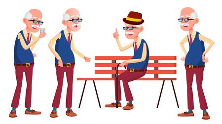Old Man Poses Set Vector. Elderly People. Senior Person. Aged. Active Grandparent. Joy. Presentation, Print, Invitation Design Isolated Cartoon Illustration