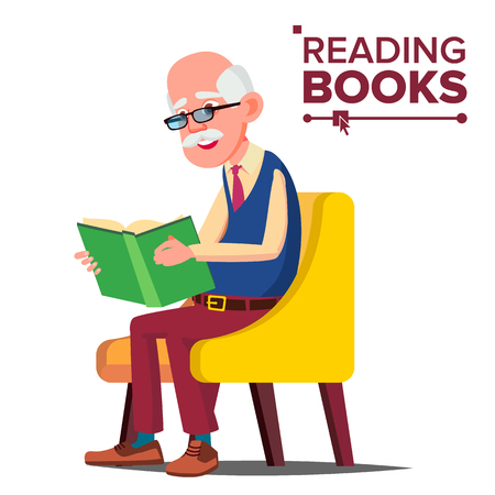 Old Man Reading Book Vector. Paper Book. Sitting In A Chair. Isolated Flat Cartoon Illustration
