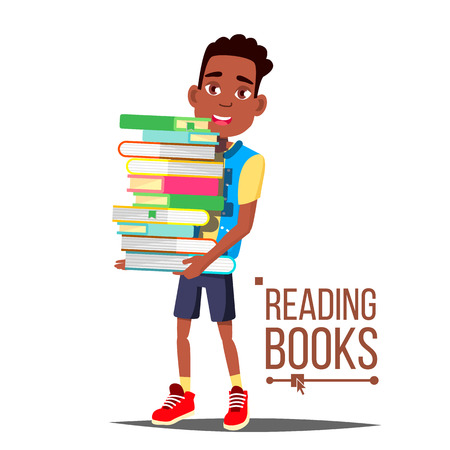 Children Reading Books Vector. Arfo American Boy With Big Stack Of Books. Education. Black. Child Library Concept. Isolated Cartoon Illustration