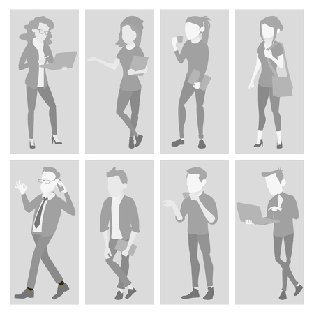 Placeholder Avatar Set Vector. Profile Gray Picture. Full Length Portrait. Male, Female Default Photo. Businessman, Business Woman. Human Web Photo. No Image. Isolated Illustration Ilustrace