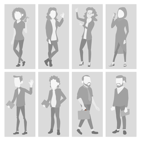 Default Placeholder Avatar Set Vector. Profile Gray Picture. Full Length Portrait. Male, Female Face Photo. Businessman, Business Woman. Human Photo. Silhouette. Isolated Illustration Ilustrace