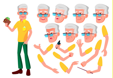Old Man Vector. Senior Person. Aged, Elderly People. Face Emotions, Various Gestures. Animation Creation Set. Cartoon Character Illustration