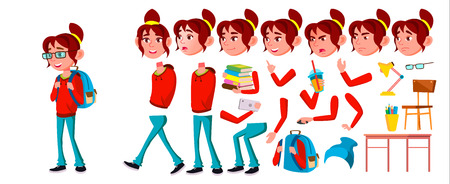 Girl Schoolgirl Kid Vector. High School Child. Animation Creation Set. Emotions, Gestures. School Student. Expression, Positive Person. Web, Brochure Poster Design Animated Illustration
