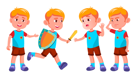 Boy Kindergarten Kid Poses Set Vector. Happy Children Character. Babysitting. For Advertisement, Greeting, Announcement Design. Isolated Cartoon Illustration Ilustração