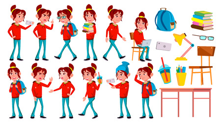 Girl Schoolgirl Kid Poses Set Vector. High School Child. High School. Teaching, Educate, Schoolkid. For Web, Brochure, Poster Design. Isolated Cartoon Illustration Illusztráció
