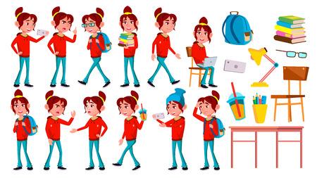 Girl Schoolgirl Kid Poses Set Vector. High School Child. High School. Teaching, Educate, Schoolkid. For Web, Brochure, Poster Design. Isolated Cartoon Illustration Illustration