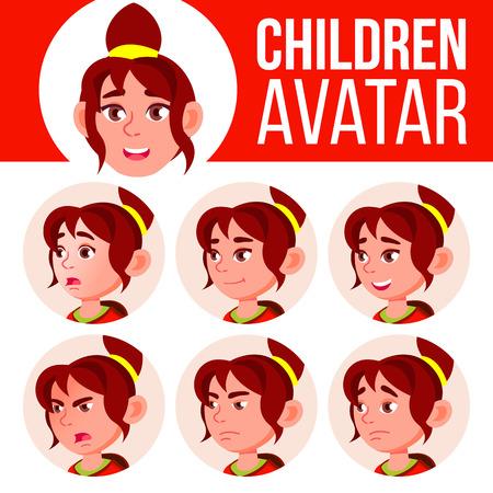 Fille Avatar Set Kid Vector. École secondaire. Faites face aux émotions. Utilisateur, personnage. Amusant, joyeux. Illustration de tête de dessin animé