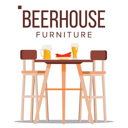 Vector de muebles de casa de cerveza. Pub. Elemento de diseño de fiesta de cerveza. Mesa de madera de cervecería, sillas, jarra de cerveza. Ilustración plana aislada