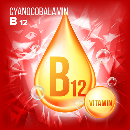 Vitamin B12 Cyanocobalamin Vector. Vitamin Gold Oil Drop Icon. Organic Gold Droplet Icon. For Beauty, Cosmetic, Heath Promo Ads Design. Drip 3D Complex With Chemical Formula. Illustration