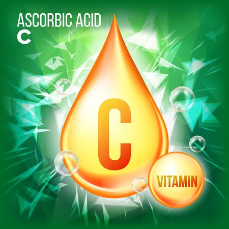Vitamin C Ascorbic Acid Vector. Organic Vitamin Gold Drop Icon. Medicine Liquid, Golden Substance. For Beauty, Cosmetic, Heath Promo Ads Design. Drip Complex. Illustration