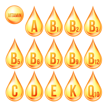 Vitamin Icons Set Vector. Organic Vitamin Gold Drop Icon. Droplet, Golden Substance. 3D Complex With Chemical Formula. Isolated Illustration Vettoriali