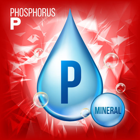 P Phosphorus Vector. Mineral Blue Drop Icon. Vitamin Liquid Droplet Icon. Substance For Beauty, Cosmetic, Heath Promo Ads Design. 3D Mineral Complex With Chemical Formula. Illustration