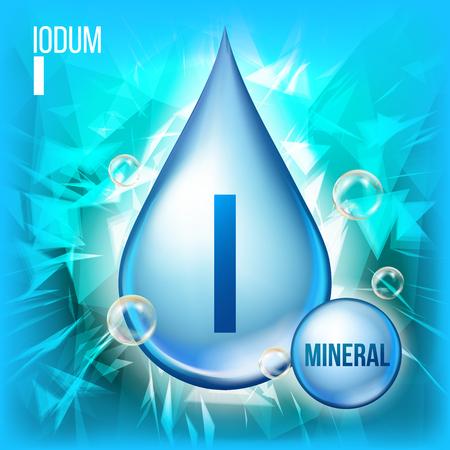 Ich Iodum Vektor. Mineral Blue Drop Icon. Vitamin Capsule Liquid Icon. Substanz für Schönheit, Kosmetik, Heath Promo Ads Design. 3D-Mineralkomplex mit chemischer Formel. Illustration