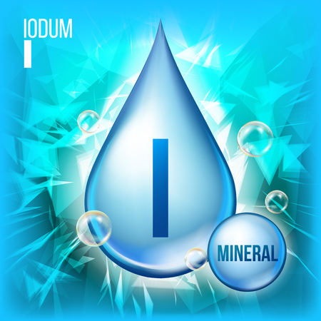 I Iodum Vector. Mineral Blue Drop Icon. Vitamin Capsule Liquid Icon. Substance For Beauty, Cosmetic, Heath Promo Ads Design. 3D Mineral Complex With Chemical Formula. Illustration