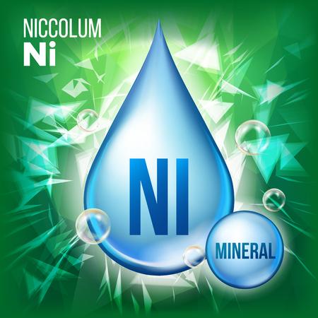 Ni Niccolum Vector. Icono de gota azul mineral. Icono de gota de líquido de vitamina. Sustancia para belleza, cosmética, diseño de anuncios promocionales de salud. Complejo mineral 3D con fórmula química. Ilustración