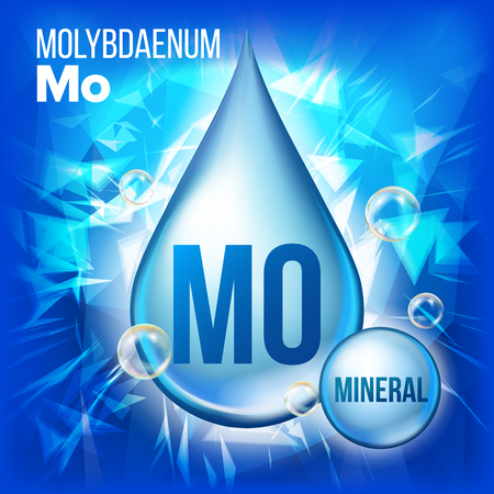 Mo Molybdaenum Vector. Mineral Blue Drop Icon. Vitamin Liquid Droplet Icon. Substance For Beauty, Cosmetic, Heath Promo Ads Design. 3D Mineral Complex With Chemical Formula. Illustration