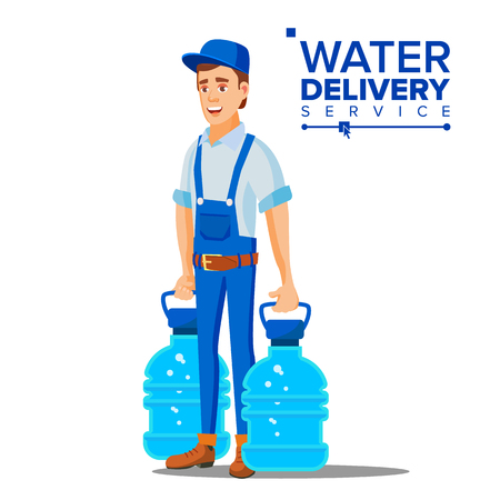 Water Delivery Service Man Vector. Company. Plastic Bottle. Supply, Shipping. Isolated Flat Cartoon Illustration Vectores