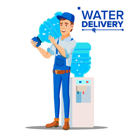 Water Delivery Service Man Vector. Delivering Clear Health Water Bottle In Home, Office. Isolated Flat Cartoon Illustration