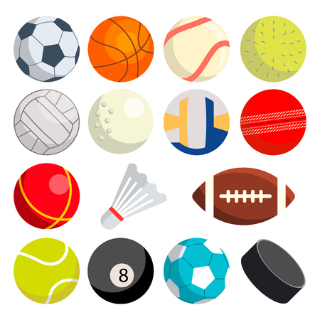 Sport Balls Set Vector. Round Sport Equipment. Game Classic Balls. Gaming Icons. Soccer, Rugby, Baseball, Basketball Tennis Puck Volleyball Illustration Vecteurs