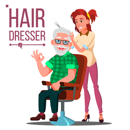 Hairdresser And Old Man Vector. Client Sitting On The Chair. Modeling. Isolated Cartoon Illustration Illustration