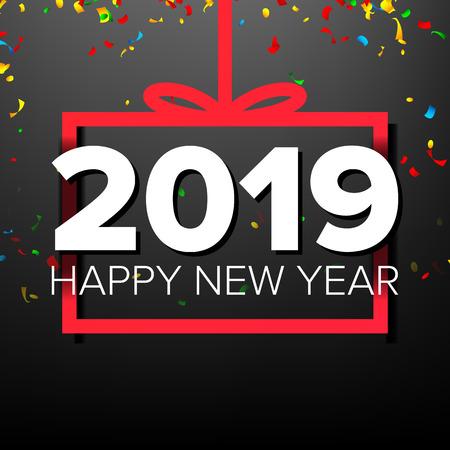2019 guten Rutsch ins Neue Jahr-Hintergrund-Vektor. Zahlen 2019. Bogen. Feiertags-Neujahrsfeier-Banner, Karte. Dunkle Illustration