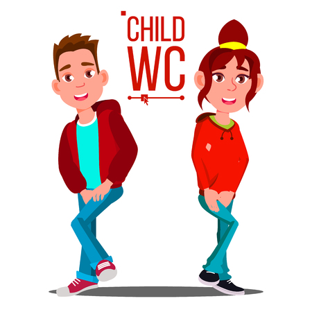 Child WC Sign Vector. Boy And Girl. Toilet Icon. Cartoon Illustration Vectores