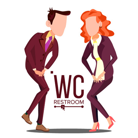 Office WC Sign Vector. Female, Male. Bathroom, Restroom Label Isolated Illustration