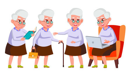 Old Woman Poses Set Vector. Elderly People. Senior Person. Aged. Friendly Grandparent. Banner, Flyer, Brochure Design. Isolated Cartoon Illustration