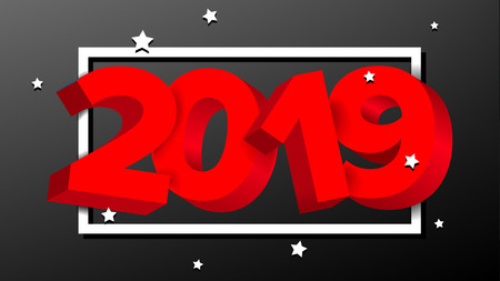 2019 3D Sign Vector. Numbers 2019 Sign. Brochure. Holiday Happy New Year Celebration Banner, Card. Illustration Vettoriali