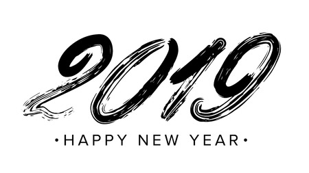 2019 Sign Vector. Grunge Calligraphy. Happy New Year. Flyer, Poster, Card, Brochure Design. Black Numbers Isolated On White Background Illustration