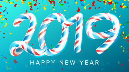 2019 Happy New Year Background Vector. Numbers 2019. Christmas Colours. Blue. Classic Xmas 3D Candy Cane. New Year Poster, Greeting Card, Brochure Template Design. Illustration