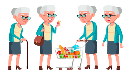 Old Woman Poses Set Vector. Elderly People. Senior Person. Aged. Caucasian Retiree. Smile. Web, Poster, Booklet Design Isolated Cartoon Illustration